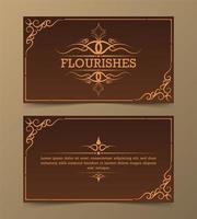 conjunto de cartão de floreio de ornamento vintage vetor