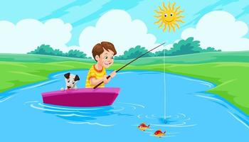 menino pescando no lago vetor