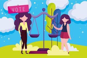 modelo de cartão de mulheres com escala de justiça para votar vetor