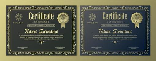 certificado melhor conjunto de diploma de prêmio vetor