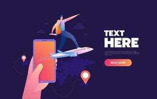 homem de pé no avião voando do telefone móvel vetor