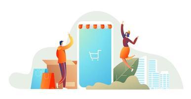 casal feliz família, fazer compras no smartphone vetor