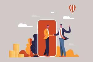homens de negócios, apertando as mãos na frente do smartphone vetor