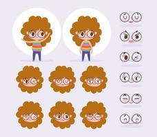 conjunto de cabeças e rostos de menina de cabelos cacheados vetor