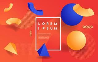 design azul e laranja com formas 3d minimalistas vetor