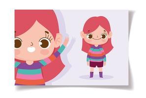 menina com modelo de cartão de camisa listrada vetor