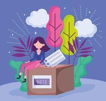 mulher sentada na caixa com cédula política eleição democracia votação vetor