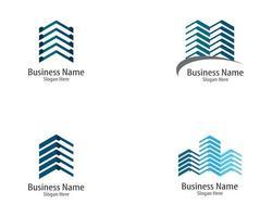 conjunto de ícones de imóveis de linha azul vetor