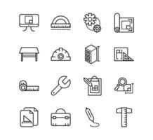 conjunto de ícones de linha arquitetura e construção vetor