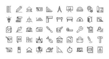 ícones variados de linha de arquitetura e construção vetor