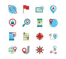conjunto de ícones de mapa e gps vetor