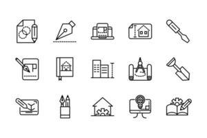 conjunto de ícones de linha de construção e arquitetura vetor
