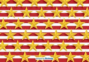 Padrão das estrelas douradas do vetor com listras vermelhas