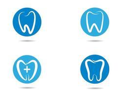 ícones dentais do círculo azul vetor