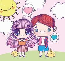 anime menina e menino com galinhas vetor