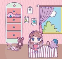 menina em um quarto bonito com brinquedos vetor