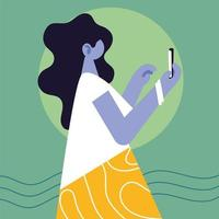 mulher usando smartphone nas mídias sociais vetor
