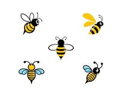 conjunto de logotipo de abelha bonito vetor