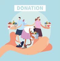 mão com as pessoas como uma referência de doação de caridade vetor