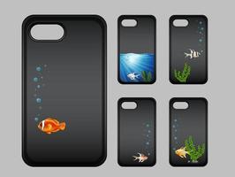 design de caixa de telefone móvel com peixes debaixo d'água vetor