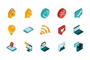 conjunto de ícones isométrica de mídias sociais vetor
