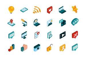 coleção de ícones isométrica de mídias sociais vetor