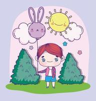 menino anime com um balão em um dia ensolarado vetor