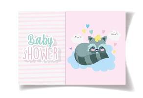 modelo de cartão de chuveiro de bebê com menina bonito guaxinim vetor