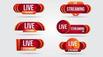 banners de interface de streaming de vídeo ao vivo em vermelho e laranja vetor