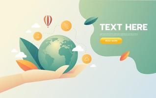 mão segurando o conceito de ícone de negócio ecológico mundial vetor