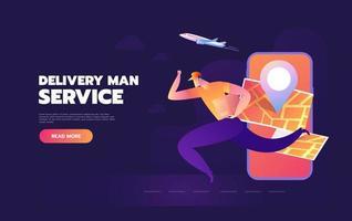 serviço de entrega rápida para pedido oline mobile vetor