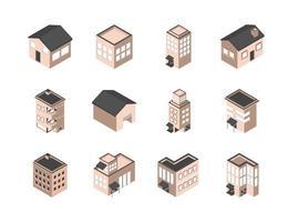 pacote de ícones isométricos de edifícios e casas vetor