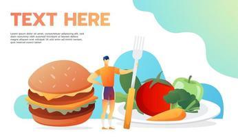conceito de comida útil e inútil vetor