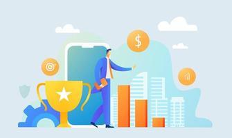 homem de negócios recebeu um prêmio de ouro em concurso online vetor