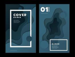 banners verticais com formas abstratas de corte em papel 3d vetor