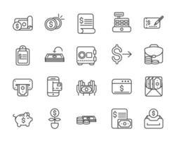 variedade de ícones de linhas grossas de economia e finanças vetor