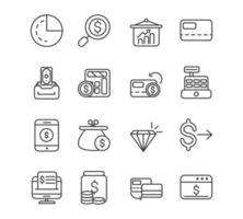 coleção de ícones de linhas grossas de economia e finanças vetor