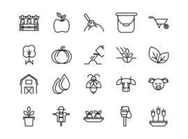 conjunto de ícones de arte em linha grossa de fazenda orgânica vetor