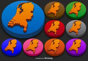 Países Baixos do estado Vector 3D Silhouettes Colorido Países Baixos Ícone Botões