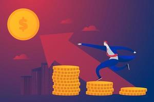 jovem empresário correndo em pilhas de moedas para o lucro vetor