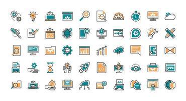 coleção de ícones de arte de linha de desenvolvimento web vetor