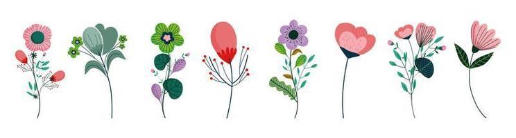 definido com várias flores de design plano vetor