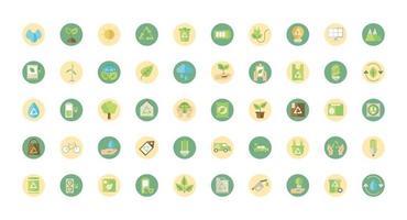 pacote de ícones de sinais de energia ecológica e verde vetor