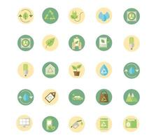 Conjunto de ícones de sinal de energia ecológica e verde vetor