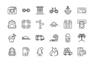 pacote de ícones de arte de linha grossa de férias e turismo vetor