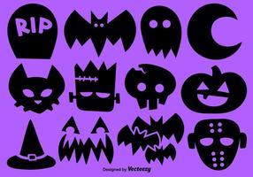 Conjunto de vetores de 12 ícones de Halloween