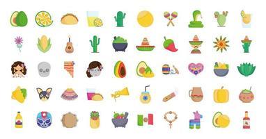 uma variedade de ícones culturais mexicanos vetor