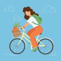 garota andando de bicicleta com mantimentos. vetor