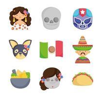 coleção de ícones culturais mexicanos vetor