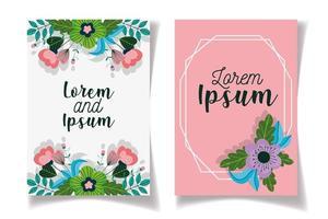 conjunto de dois cartões de convite com modelo de flores vetor